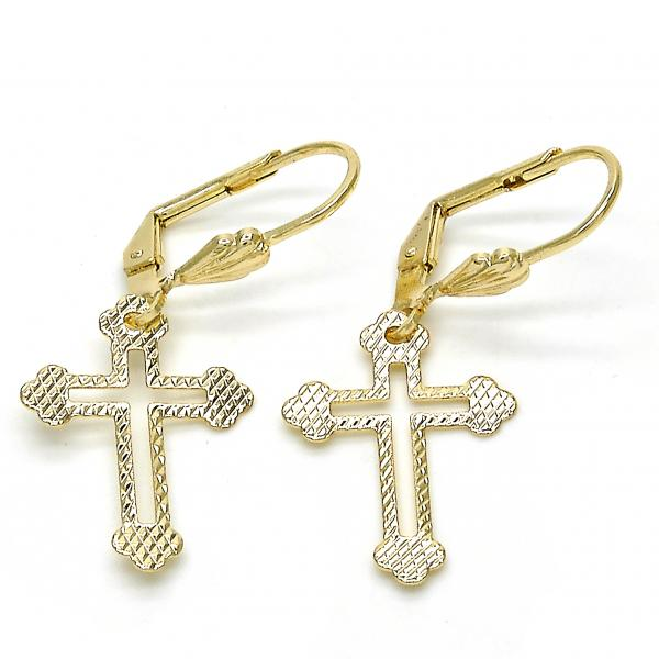Gold Layered 5.111.015 Dangle Earring, Cross Design, Diamond Cutting Finish, Golden Tone