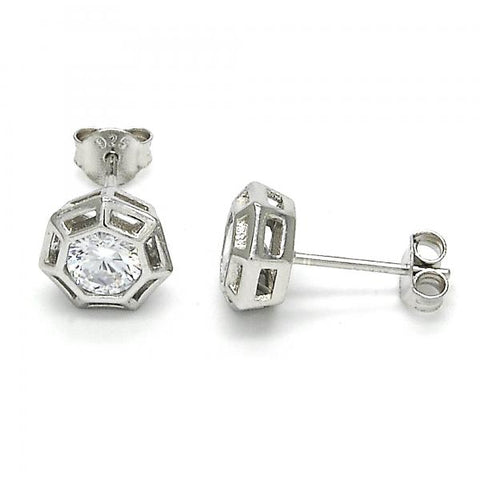 Sterling Silver 02.285.0060 Stud Earring, with White Cubic Zirconia, Polished Finish,
