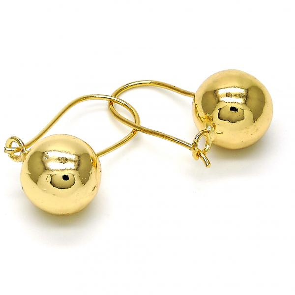 Gold Layered 02.168.0035 Leverback Earring, Ball Design, Polished Finish, Golden Tone