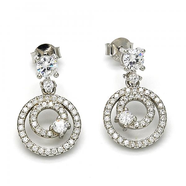 Sterling Silver 02.175.0131 Dangle Earring, with White Cubic Zirconia and White Crystal, Polished Finish, Rhodium Tone