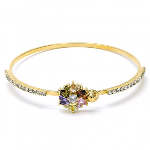Gold Layered 07.97.0040 Individual Bangle, Flower Design, with Multicolor Cubic Zirconia and White Crystal, Polished Finish, Golden Tone (03 MM Thickness, Size 5)