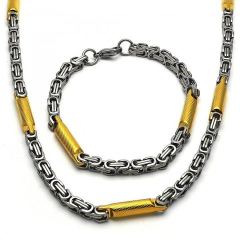 Stainless Steel 06.289.0001 Necklace and Bracelet, Diamond Cutting Finish, Two Tone