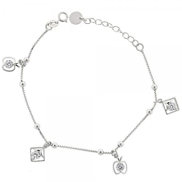 Sterling Silver 03.183.0062.06 Fancy Bracelet, Apple Design, with White Cubic Zirconia, Rhodium Tone