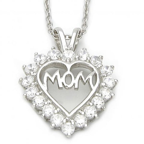 Sterling Silver 10.174.0163.18 Fancy Necklace, Heart Design, with White Cubic Zirconia, Polished Finish, Silver Tone