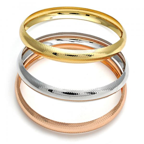 Gold Layered 07.252.0008.06 Trio Bangle, Polished Finish, Tri Tone (10 MM Thickness, Size 6 - 2.75 Diameter)