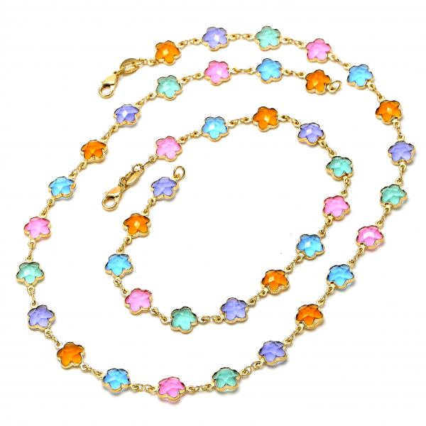 Gold Layered 04.63.1198 Necklace and Anklet, Flower Design, with Multicolor Crystal, Polished Finish, Golden Tone