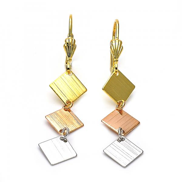Gold Layered 02.63.2183 Long Earring, Brushed Finish, Tri Tone