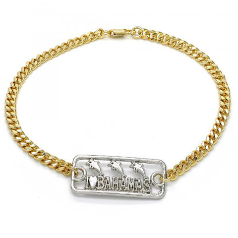 Gold Layered 03.63.1837.10 Fancy Anklet, Dolphin Design, Polished Finish, Two Tone