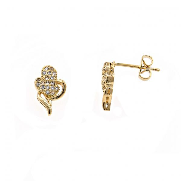 Gold Layered 02.122.0079 Stud Earring, Heart Design, with White Micro Pave, Polished Finish, Gold Tone