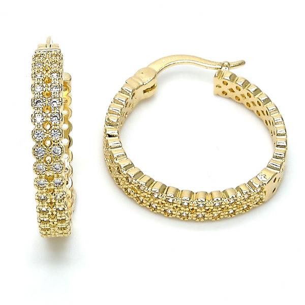 Gold Layered Small Hoop, with Micro Pave, Golden Tone