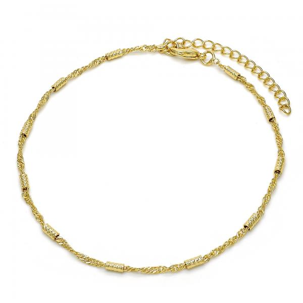 Gold Layered 03.318.0001.09 Fancy Anklet, Diamond Cutting Finish, Golden Tone