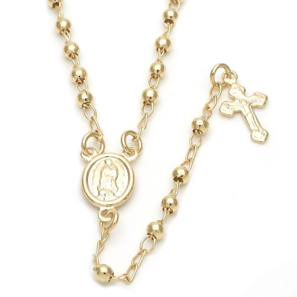 Gold Layered Thin Rosary, Divino Niño and Crucifix Design, Golden Tone