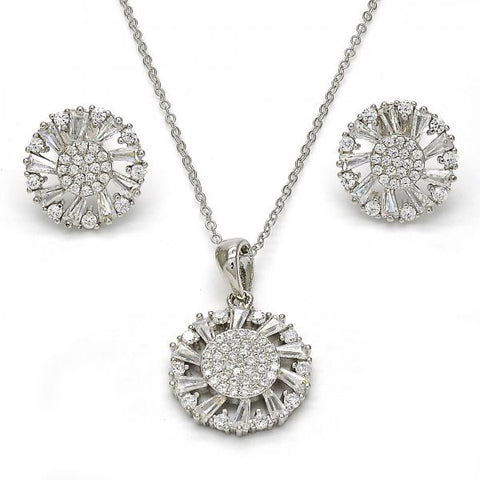 Sterling Silver 10.286.0005 Earring and Pendant Adult Set, with White Cubic Zirconia, Polished Finish, Rhodium Tone