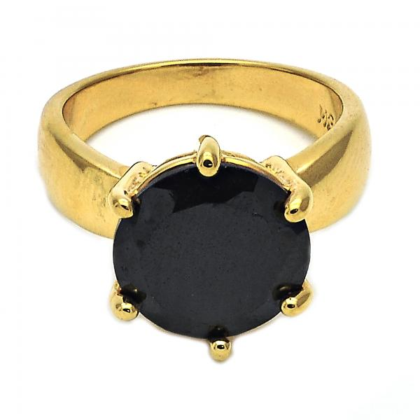 Gold Layered Multi Stone Ring, Solitaire Design, with Cubic Zirconia, Golden Tone