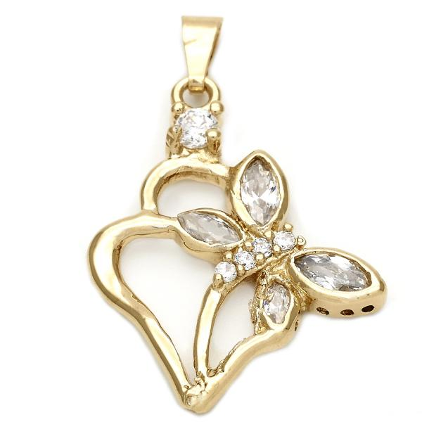 Gold Layered 5.181.025 Fancy Pendant, Heart and Butterfly Design, with White Cubic Zirconia, Polished Finish, Golden Tone