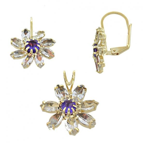 Gold Layered 5.056.003 Earring and Pendant Adult Set, Flower Design, with Amethyst and White Cubic Zirconia, Polished Finish, Golden Tone