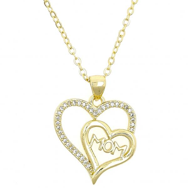 Gold Layered 04.63.1273.18 Fancy Necklace, Mom and Heart Design, with White Micro Pave, Polished Finish, Golden Tone