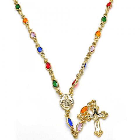 Gold Layered 09.63.0114.18 Thin Rosary, Caridad del Cobre and Crucifix Design, with Multicolor Cubic Zirconia, Polished Finish, Golden Tone
