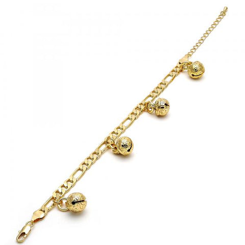Gold Tone 03.63.1776.08.GT Charm Bracelet, Rattle Charm and Elephant Design, Polished Finish, Golden Tone