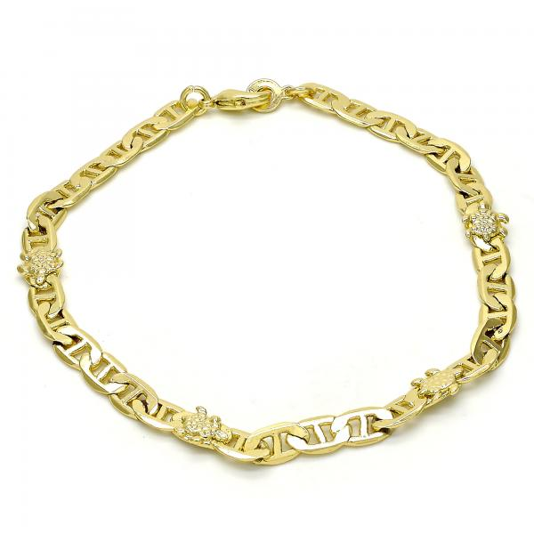 Gold Layered 03.213.0030.10 Fancy Anklet, Turtle Design, Polished Finish, Golden Tone