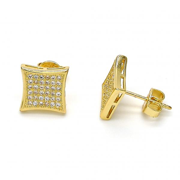 Gold Layered 02.156.0105 Stud Earring, with White Micro Pave, Polished Finish, Golden Tone