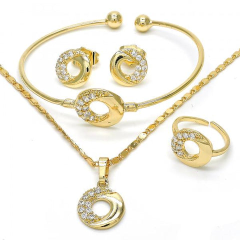 Gold Layered 06.329.0010 Earring and Pendant Children Set, with White Cubic Zirconia, Polished Finish, Golden Tone