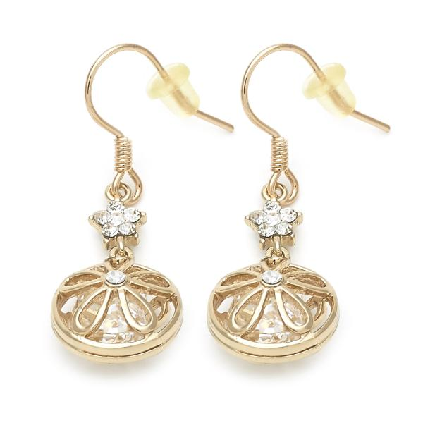 Gold Layered 02.171.0018 Dangle Earring, Flower Design, with White Cubic Zirconia, Golden Tone
