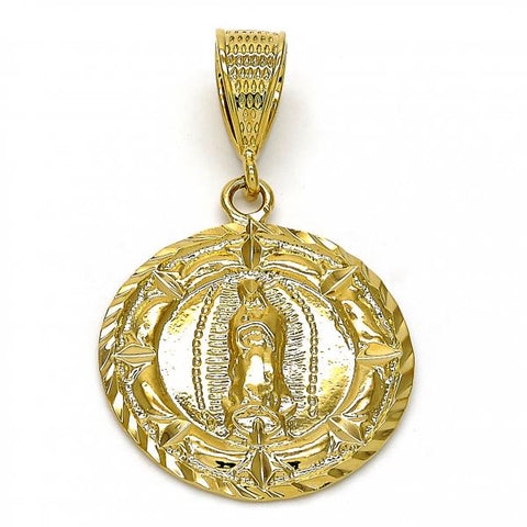 Gold Layered 5.185.019 Religious Pendant, Guadalupe Design, Diamond Cutting Finish, Golden Tone