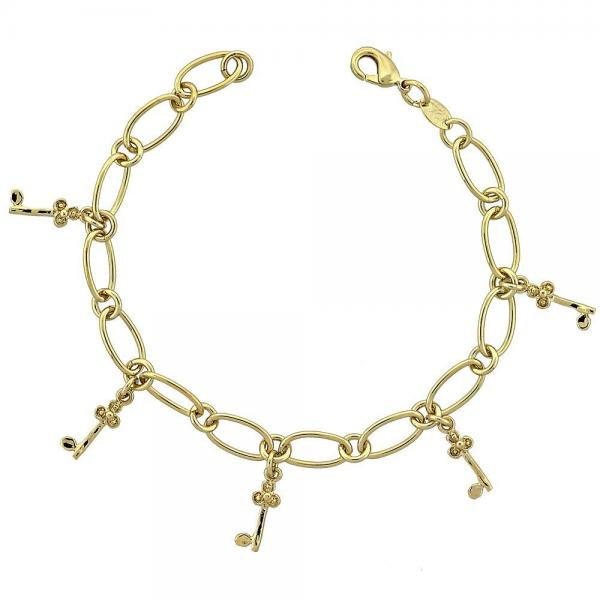 Gold Layered 5.022.010 Charm Bracelet, key Design, Polished Finish, Golden Tone