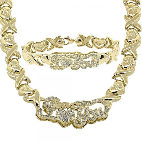 Gold Layered 10.180.0004 Necklace and Bracelet, Hugs and Kisses Design, with White Cubic Zirconia, Golden Tone