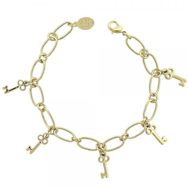 Gold Layered 5.022.010.1 Charm Bracelet, key Design, Polished Finish, Golden Tone
