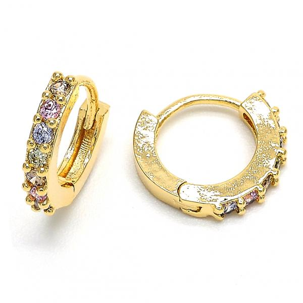 Gold Layered 02.122.0058 Huggie Hoop, with Multicolor Cubic Zirconia, Polished Finish, Gold Tone