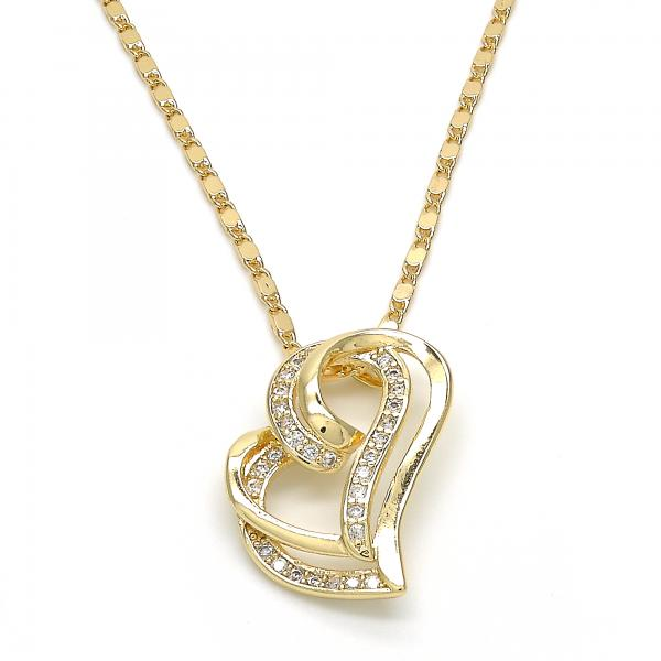 Gold Layered 04.195.0023.20 Fancy Necklace, Heart Design, with White Micro Pave, Polished Finish, Golden Tone