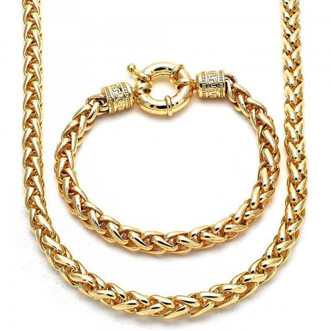Gold Layered 06.179.0005 Necklace and Bracelet, Rat Tail and Greek Key Design, Polished Finish, Golden Tone