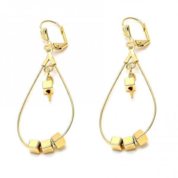 Gold Layered 02.32.0285 Dangle Earring, Lock Design, Polished Finish, Golden Tone