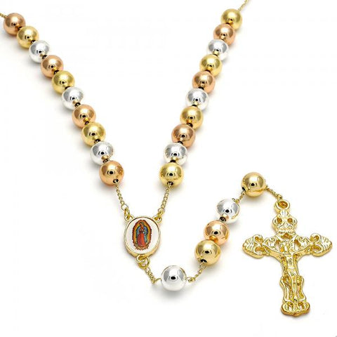 Gold Layered 09.253.0005.24 Large Rosary, Guadalupe and Crucifix Design, Polished Finish, Tri Tone