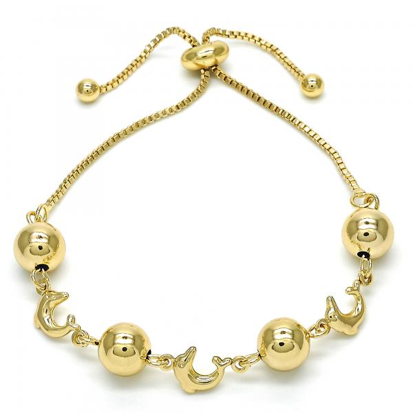 Gold Layered 03.63.1833.10 Fancy Bracelet, Dolphin and Ball Design, Polished Finish, Golden Tone