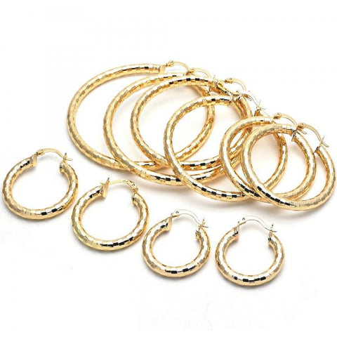 Gold Layered Small Hoop, Hollow Design, Golden Tone
