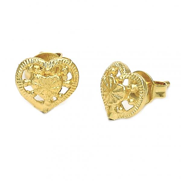 Gold Layered 02.100.0037 Stud Earring, Heart Design, Golden Tone