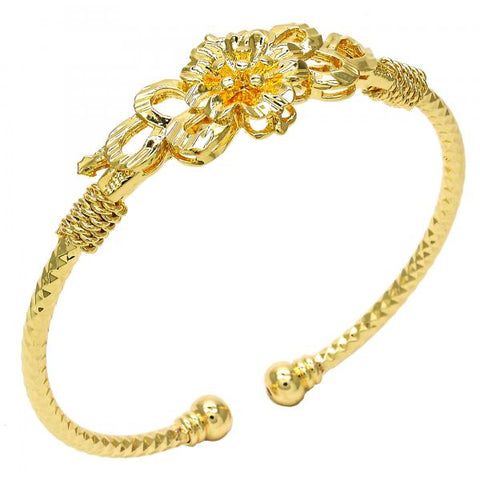 Gold Layered Individual Bangle, Flower Design, Tri Tone