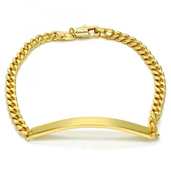 Gold Layered 5.227.012.1.08 ID Bracelet, Miami Cuban Design, Polished Finish, Golden Tone
