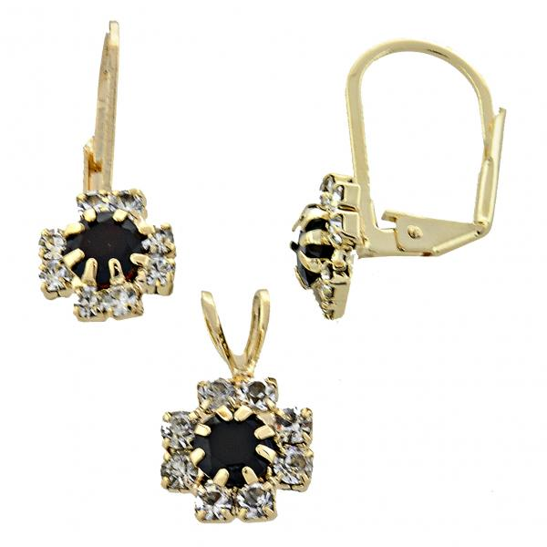 Gold Layered 5.058.009 Earring and Pendant Adult Set, Flower Design, with  Cubic Zirconia, Golden Tone