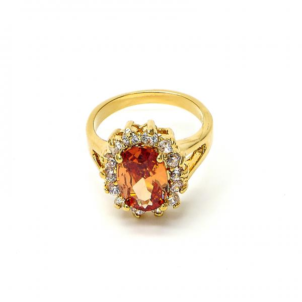 Gold Layered Multi Stone Ring, Cluster Design, with Cubic Zirconia, Golden Tone