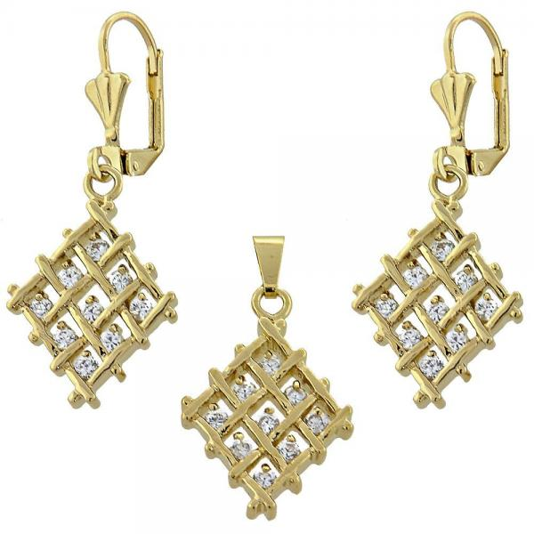 Gold Layered 10.63.0323 Earring and Pendant Adult Set, with  Cubic Zirconia, Golden Tone