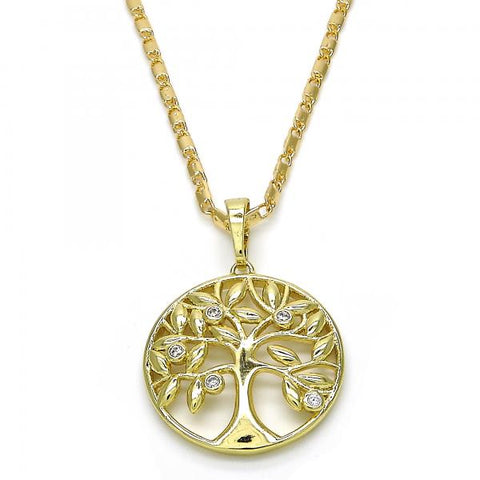 Gold Layered 04.26.0047.22 Fancy Necklace, Tree Design, with White Cubic Zirconia, Polished Finish, Golden Tone