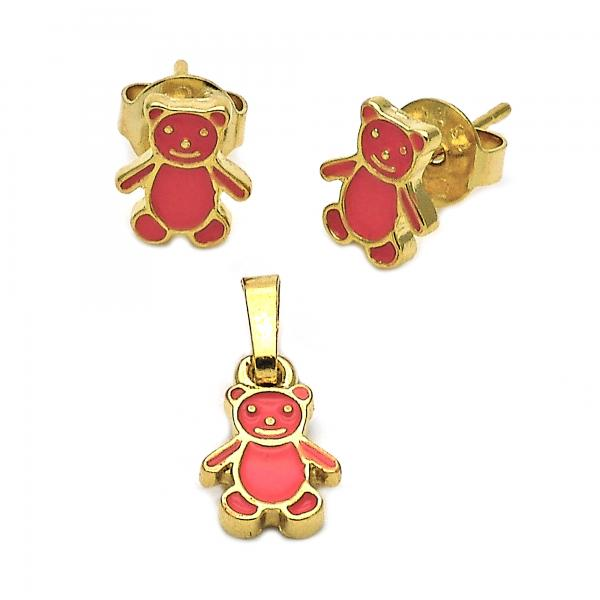 Gold Layered 10.64.0144 Earring and Pendant Children Set, Teddy Bear Design, Enamel Finish, Golden Tone