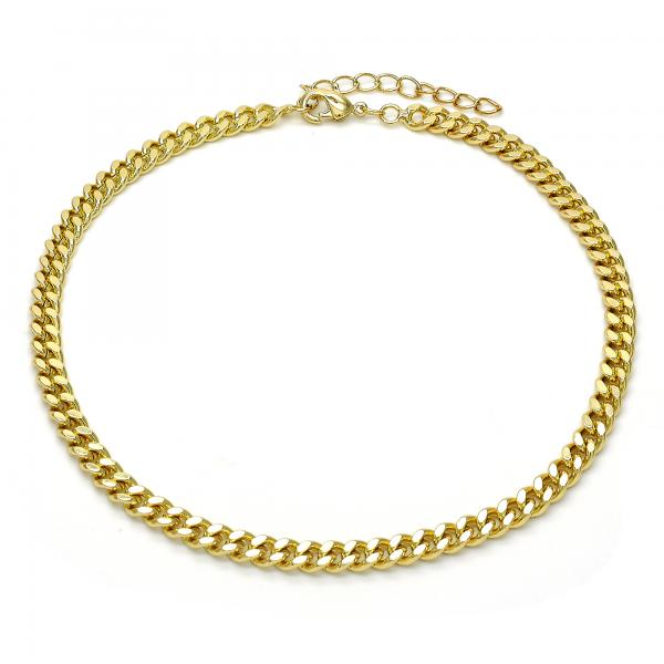 Gold Layered 04.213.0099.10 Basic Anklet, Miami Cuban Design, Polished Finish, Golden Tone