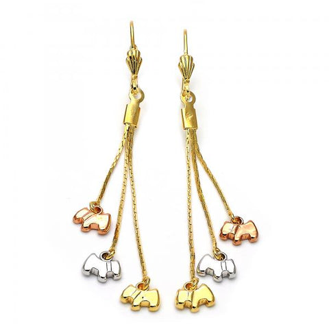 Gold Layered 5.103.002 Long Earring, Dog Design, Polished Finish, Tri Tone