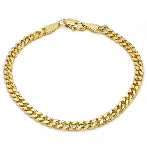 Gold Layered 04.63.1360.08 Basic Bracelet, Miami Cuban Design, Polished Finish, Golden Tone