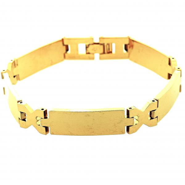 Gold Layered 5.035.008.1 Solid Bracelet, Hugs and Kisses Design, Polished Finish, Golden Tone
